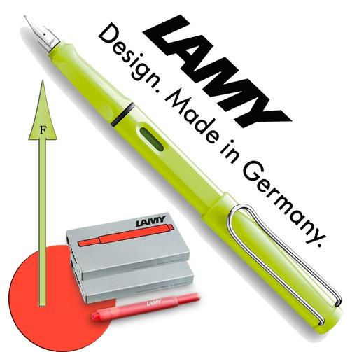 LAMY safari [neon lime] mit waehlbarer Feder & Patronen (Feder F, Mit roten Patronen)